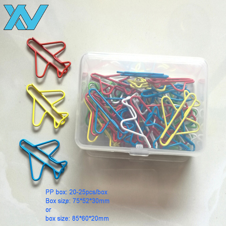 20pcs Unique Colorful OEM designs Metal wire airplane shaped paper clip <strong>gift</strong> in plastic box
