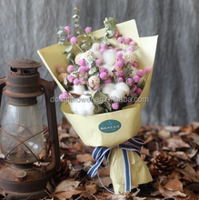Dried Cotton Stem Globe Amaranth Eucalyptus Flower Bouquet