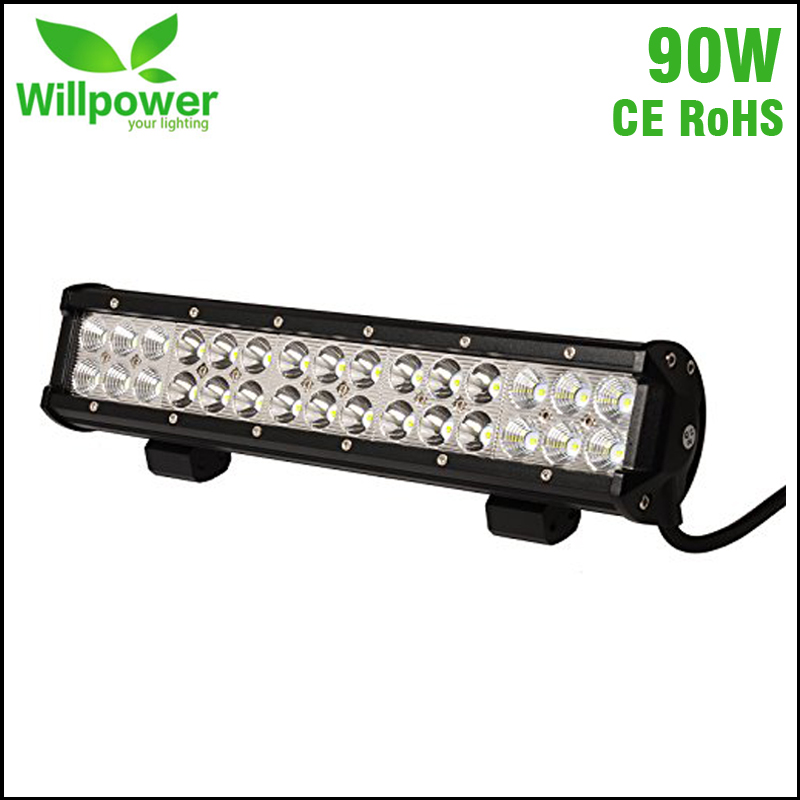High power factory wholesale car work light 90w cheap 4x4 offroad led light bar 12v