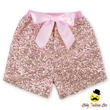 2017 Kids Summer New Model Design Pink Sequins Bow Baby Girl Hot Shorts
