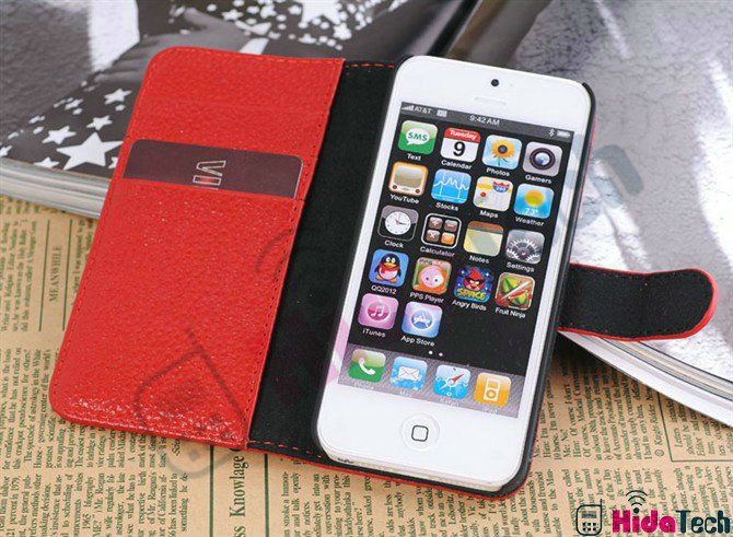 Full Layer Genuine Cow Leather Case for Apple iPhone5 5G, Horizontal Design With Insert Pockets,In Stock