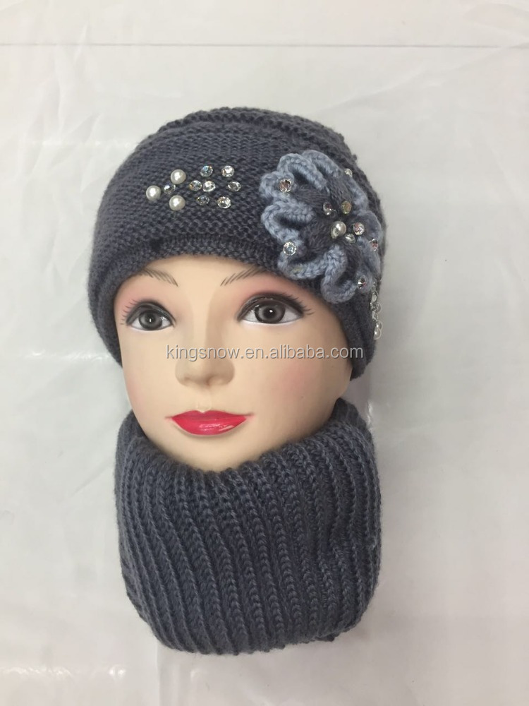 Fashion Crochet Flower High end Knitted Custom Jewel Cap,Hat Scarf Set