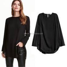 Women fashionable Long-sleeved frilled Blouse softly fabric chiffon black shirt blouse with wide cuffs import china
