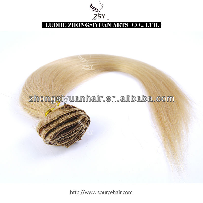 ZSY unprocessed virgin remy <strong>quad</strong> weft clip in hair extension