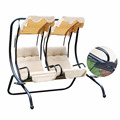 2 Person Outdoor Patio Swing Set Armrest Cup Holder Steel Seat Padded Canopy Swing