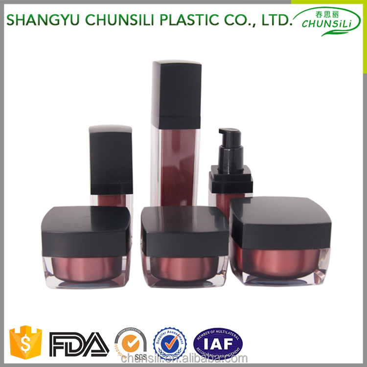 Promotional Top Quality cheap square cosmetics bottles and jars