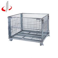 Warehouse Folding Steel Storage Cage With Wheels