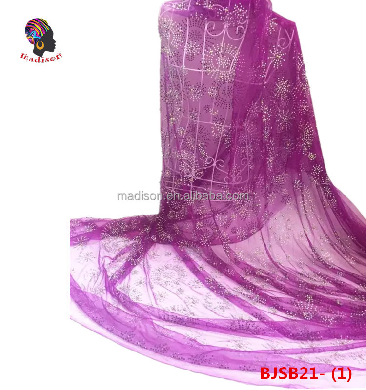 Gzmadison 2016 Hot Sale Embroidery Design Hand Purple Tulle Lace Stones And Beads Fabric Wholesale For Party Dress/BJSB21-1