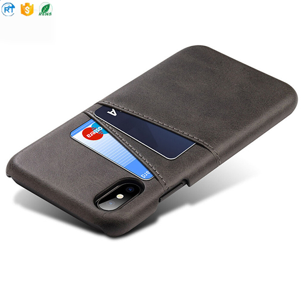 Luxury business style card bag hard pc pu leather cell phone back cover for iphone x