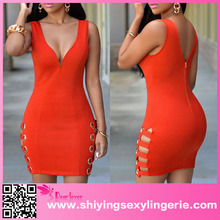 Big Stock Wholesale Orange Womens V Neck Sexy Loaded Dress Vestido De Noche 2015