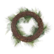 Green pine needle wreath with glitter ball for christmas tree decoration wholesale berry wreath