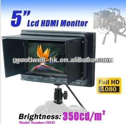 HDMI Input & Output 16:9 Camera Mount 5 Inches TFT LCD Color Monitor