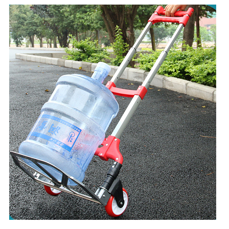 New Design Portable Loading Goods Carrying Transport Cargo Aluminum Handle Trolley Cart with Two Wheels