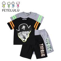 Boy Short Sleeves T-Shirt Set Leopard Pattern Printed T Shirt Price China