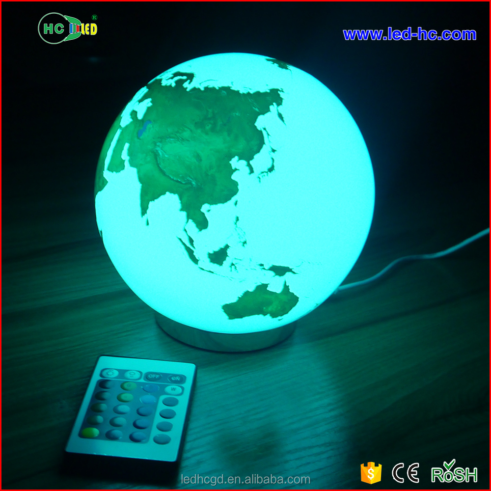 Factory wholesale modern hotel bedside desk led lamp earth pattern table lamp with remote control