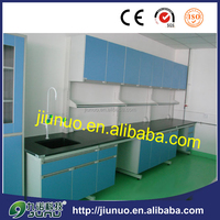 The whole laboratory steel frame with wheels wood cabinet benches
