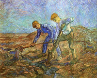 Reproduction oil painting Two Peasants Digging by Van Gogh