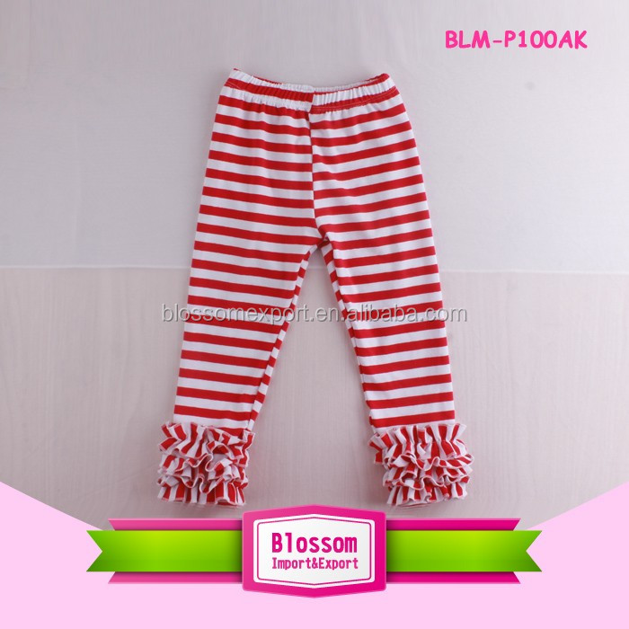 Baby Girls Toddler Kids Pants Red Star Triple Ruffle Legging Boutique Icing Cotton Baby Ruffle Pants