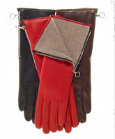 ladies wool lining long wrist red warm winter leather party gloves with zipper