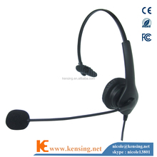 Monaural telephone headset with RJ connector and noise cancel microphone