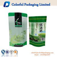 customized printing stand up pouch green leaves tea bags for loose tea with zipper top