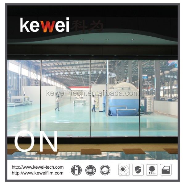 Kewei high tech Self-adhesive window tint Film, PDLC Switchable privacy electronic film,smart tint for workshop