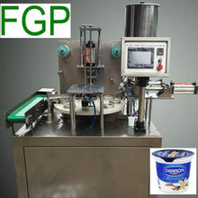 Automatic rotary yoghurt tub/pot/cup filling sealing machine with precut lid in China