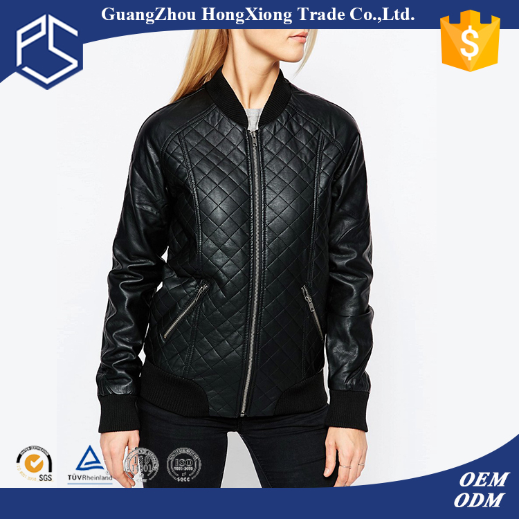 China Factory HongXiong OEM New Design Custom Zipper Pockets Fitted Long Sleeves Fleece Women Pu Leather Jacket