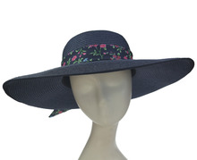 ABPF Wide Brim Sombrero Summer Beach Sun Foldable Straw Hats With Bow Satin