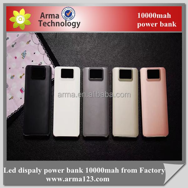 Original manufacture Leather Material Dual USB Power Bank 10000mah With Led Display