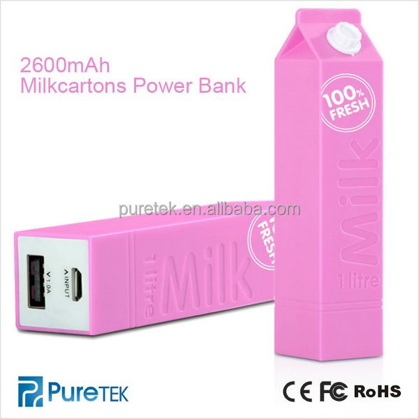 Milkcartons Battery Power Bank 2600mAh Portable Power Bank Charger For Iphone5 5S/Samsung/HTC/Digital Camera