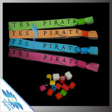 custom company name cheap woven bracelet with colorful plastic lock