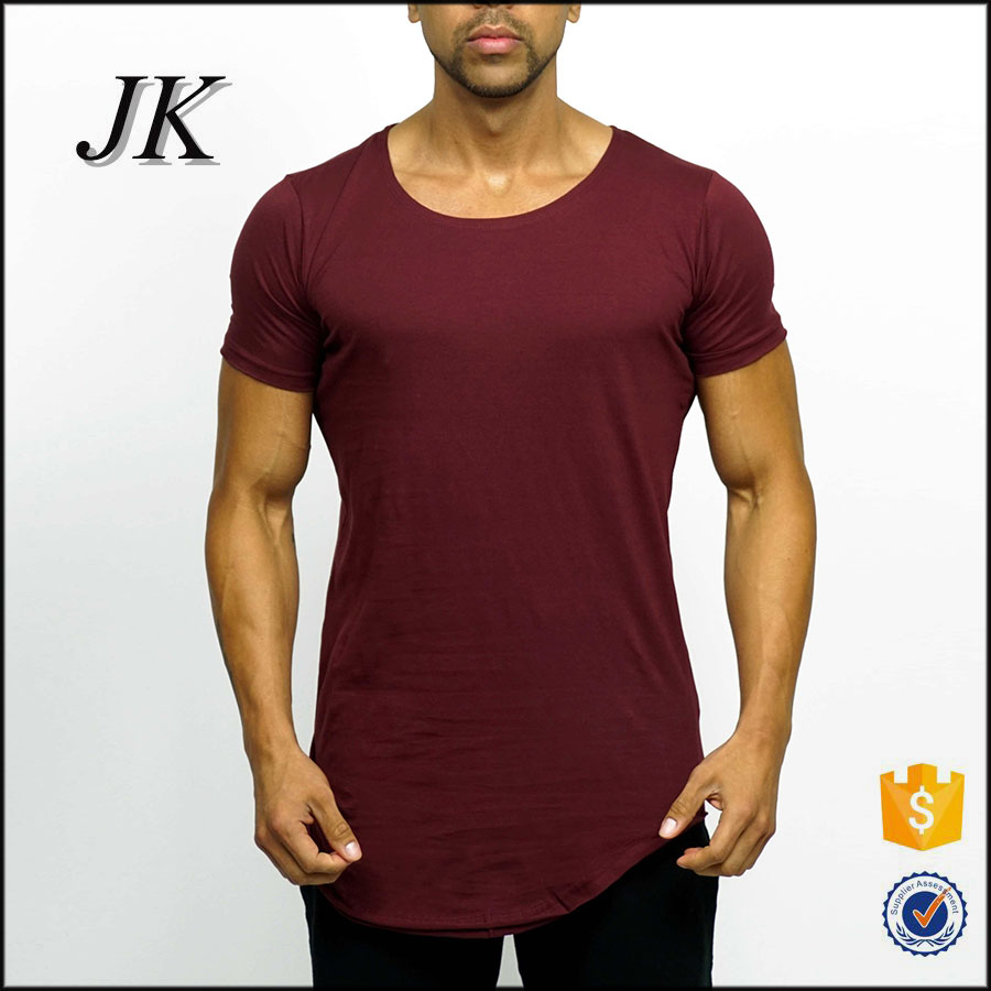 Wholesale mens mercerized cotton t-shirt / extended blank t shirt in curved hem