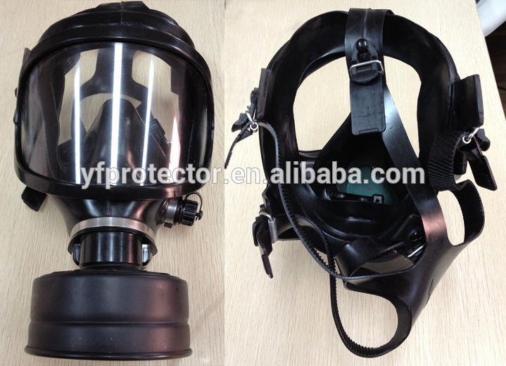 Police riot helmet with gas mask