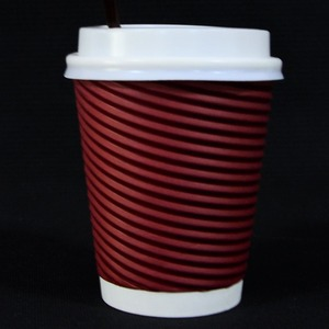 wholesale compostable coffee cup 16oz eco-friendly disposable custom logo printed hot coffee ripple wall paper cups with Lid