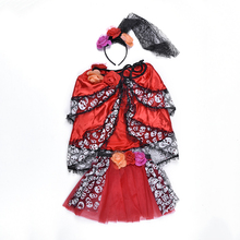 New Arrival Rose Design Clothes Red And Black Halloween Costume With Lace Headwear