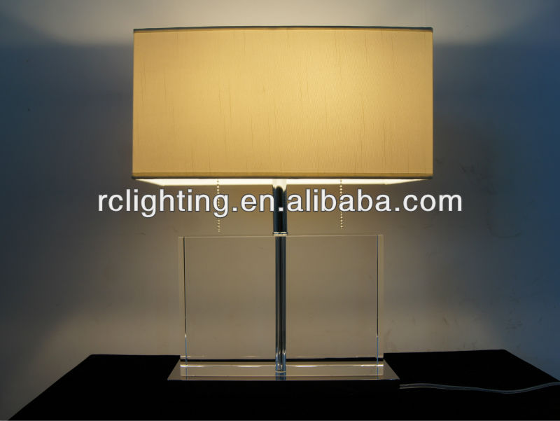 square white fabric modern crystal table lamp