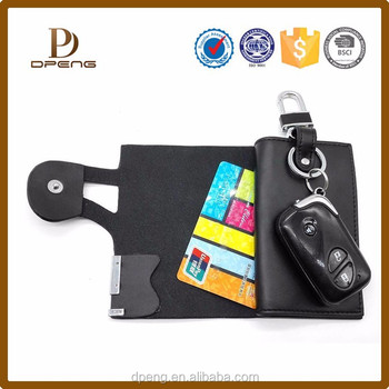 Top selling ultra black busienss style pu leather key ring credit card holder