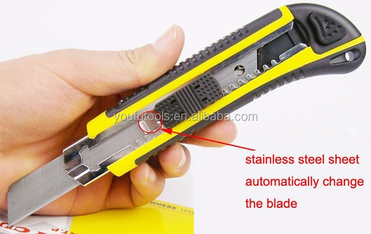 2017 New Stylish Stainless Steel Knife 3 Blades Self Utility Knife Cutter