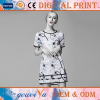 Custom High Quality Digital OEM Printed Silk Wedding Dress
