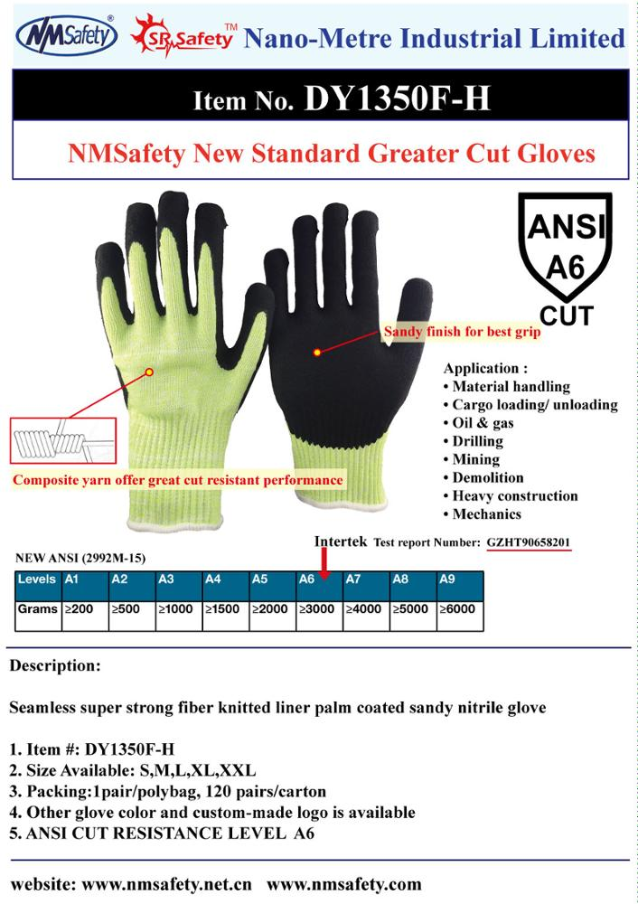 NMsafety Nylon and Hppe and Steel Fiber Palm Sandy Nitrile ANSI 6 Cut Resistant Mechanical Work Gloves