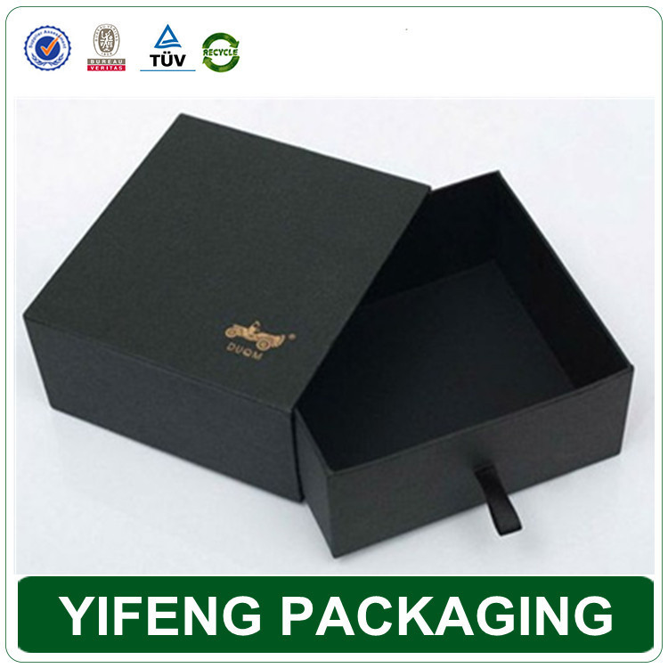 Custom design high quality gift packaging black cardboard boxes with drawer