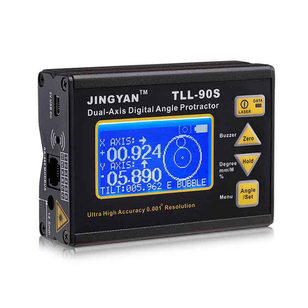 TLL-90S Super High Precision laser level LCD Display Angle Meter 0.005 Professional Dual-axis Digital Laser Level Inclinometer