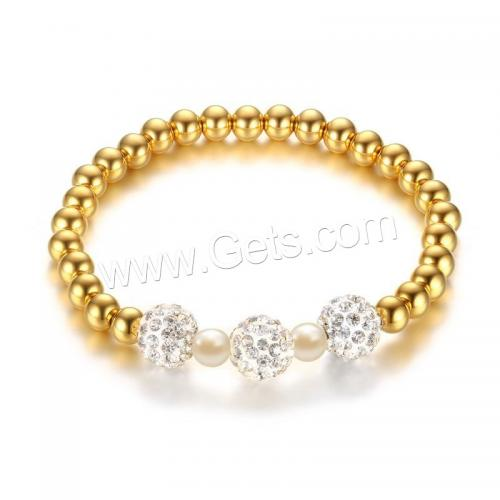 Stainless Steel bead Bracelets Rhinestone Clay Pave Bead & Glass Pearl real gold plated for woman 6mm Length:Approx 6.6 Inch