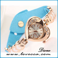 Women leather vogue watch bracelet lady heart shape gold bracelet