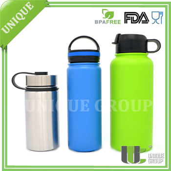 Unique Group 32 Ounce Wide Mouth Double Wall Stainless Steel Vacuum Bottle With DIfferent Lids