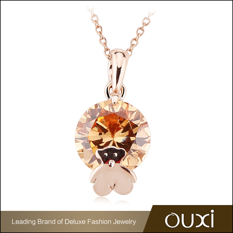 OUXI New Products Fashion Imitation Jewellery Gold Plated Lovely Bear Shape Champagne CZ Diamond Pendant Necklace