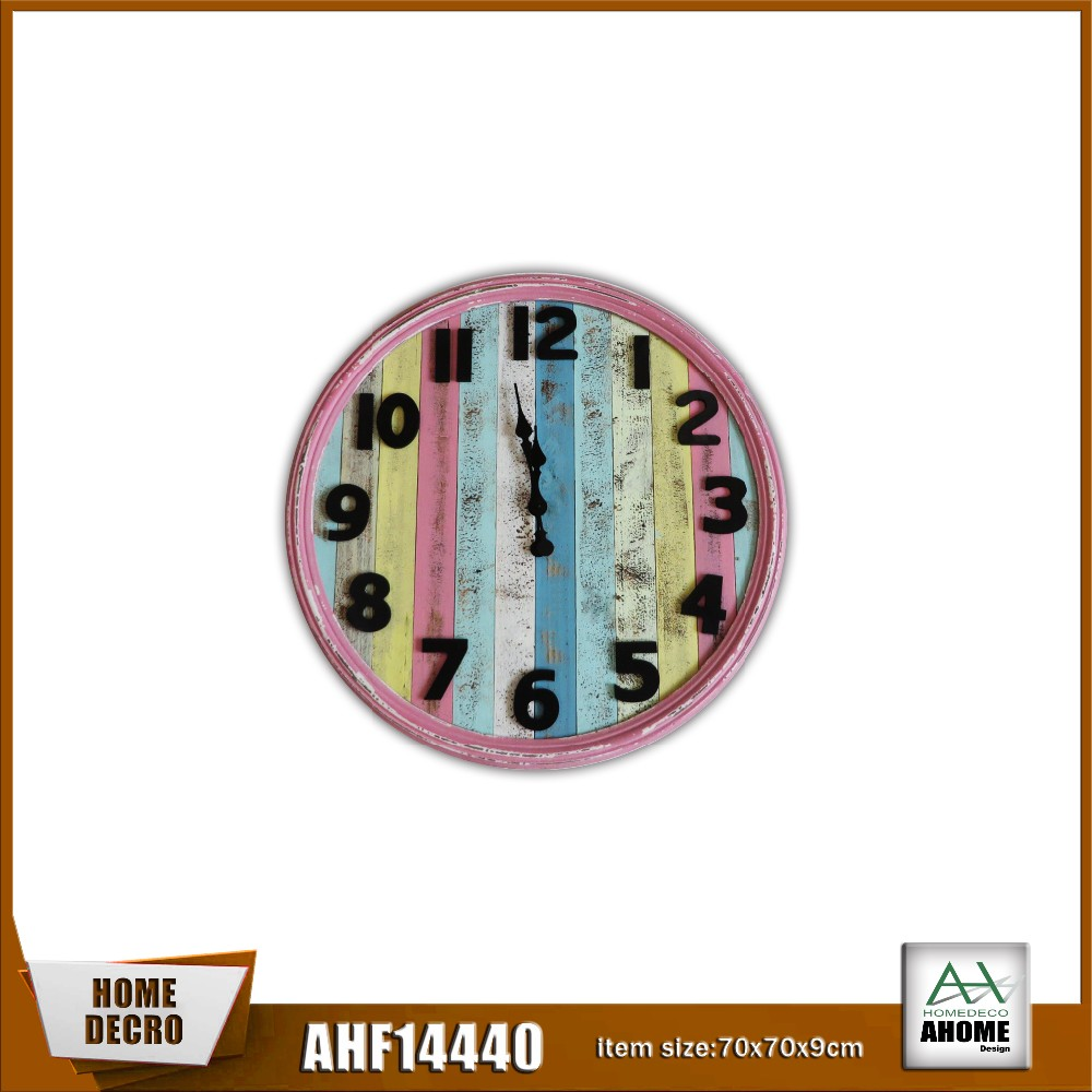 70CMD Antique Art Wall Clock With Wooden Face-multi Colour,Wooden clock