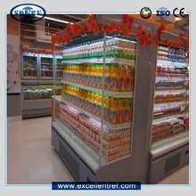 vertical display case open cooler used as drinkd&dairy showcase in convenience store