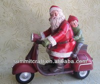 Ride a motorcycle Santa Claus resin christmas fireplace decorations